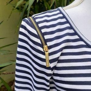 Michael Kors Striped Zipper Detail Top